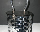 RESERVED for STEPHANIE C Dorset Rex, Fifth Avenue, 1950's, Metal Basket weave, Oval Box purse, Lucite, silver metal