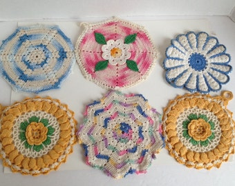 Vintage Doilies 6 Crochet Mid Century Handmade Doily Lot for Kitchen Dining Room Coasters