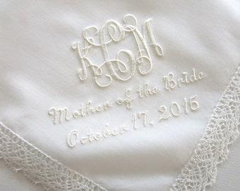 Ivory Color Cotton Lace Handkerchief with 3-Initial Monogram, Mother of the Bride and Date