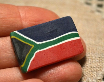 2 Flag Beads South Africa 30x20mm Rectangle Polyclay Polymer Clay Jewelry