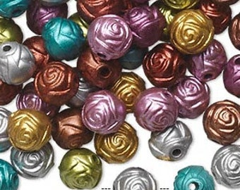100pcs Acrylic Beads 8mm Flower Rose Mix Metallic Multicolored