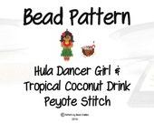 Seed Bead Hula Dancer Girl & Coconut Drink Pattern, Peyote Stitch   DIGITAL DOWNLOAD