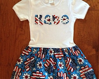 4th of July - T- Shirt Dress- Personalized  Independence Day-Election-Toddler Girl Party Dress- Red, White, Blue- Stars and Stripes, Flowers