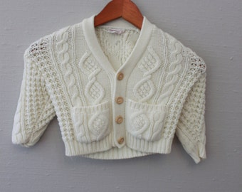 Vintage cable knit Cream Cardigan by Grand Knitwear