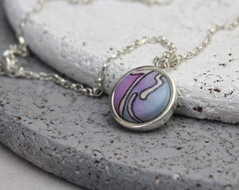 Batik necklace, Mixed media jewelry, Batik jewelry, Fabric jewelry in purple, Textile jewelry, Sterling necklace