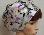 Womens Satin Hair Bonnet , Floral Headscarf, Hair Wrap Bonnet, Silky Bandana Headwear, Jewish Tichel Head Wrap, Head Snood
