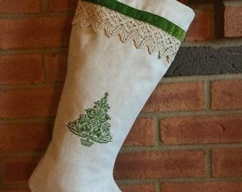 Oatmeal linen Christmas stocking embroidered Scandanavian Nordic Christmas tree velvet lace trim modern elegant housewwarming couples gift