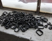 HUGE LOT  Black and Silver Metal Hardware for Harnesses, Belts, Jewelry, Keychains 250+ pcs Destash