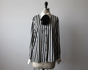 Vintage Striped Black and White Blouse with Ascot Bow Tie Chic 80s M-L