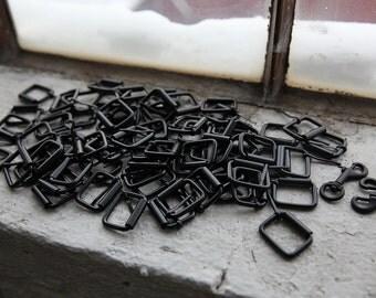 HUGE LOT  Black and Silver Metal Hardware for Harnesses, Belts, Jewelry, Keychains 250+ pcs Destash