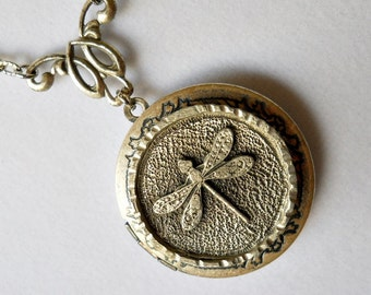 Dragonfly Locket, Silver Dragonfly Locket, Dragonfly Medallion, Dragonfly Necklace