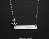 ON SALE Personalized Jewelry, Custom Initial Necklace, Custom Intial Name Plate Necklace, You are my Anchor, Anchor Necklace, Valentine's Je