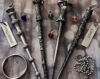 Lumos, Expelliarmus - Wand, Harry Potter Inspired, Keychain, Car Charm, Car Accessory, Mirror Charm, Wizard, Magic, Gift