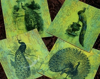 Emerald Peacocks Handmade Decoupage 7, 8, 9 or 10 Inch Square Glass Plate Set of 4 - Emerald Green Peacock