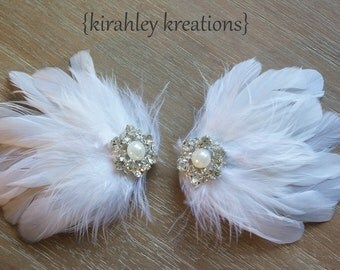 PRISCILLA -- Ivory or White Feather Shoe Clips Wedding Bridal Bride Bridesmaids Rhinestones Pearl Shoes Prom Party Accessory CUSTOMIZABLE