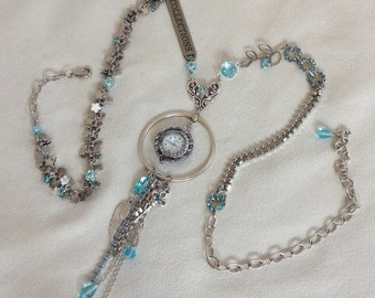 """Working Watch Tassel Pendant Necklace--""""Collections"""" in Aqua and Silver"""