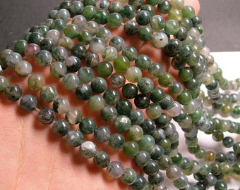 Moss agate - 8 mm round beads -1 full strand - 48 beads  - RFG185
