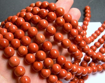 Red Jasper - 10 mm round beads -1 full strand - A quality - 39 beads - RFG703