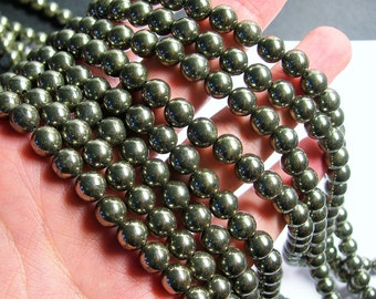 Pyrite - 8 mm round beads -1 full strand - 50 beads - A quality - RFG358