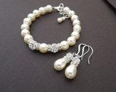 Bridal Pearl Bracelet Earrings Set Ivory Swarovski Pearls Bridal Classic Bracelet Set Bridesmaid Bracelet Wedding Pearl Bracelet Set KAREN