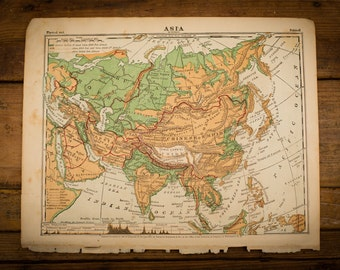 "1871 Asia Map, 12"" x 9.5"", Antique Illustrated Book Page, 1800s"