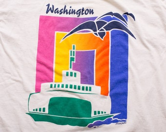 Washington Ferry Boat T-Shirt, State Transportation Graphic Tee, Vintage 90s