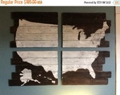 American Map - Wood Map - Hand Painted Map - Cedar Plank Wood -USA Map - Rustic Home Decor -United States of America Map -Travel Decor