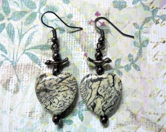 Black and Gray Heart and Bird Earrings (2440)
