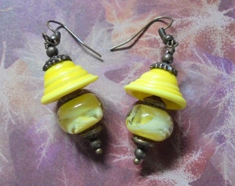 Yellow and Brass Lampwork Earrings (2544)