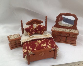 Dolls House Miniatures - Hand Dressed Cherry Bed Set 1/24th (1/2 inch bed) - Charlotte - NEW SPRING 2016