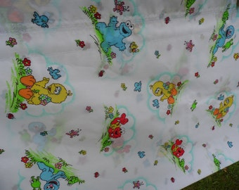 Curtain Sesame Street vintage valance with baby cookie monster, big bird, elmo, grover  lady bugs, frogs bunny, birds, flowers 77 x 15 3/4""
