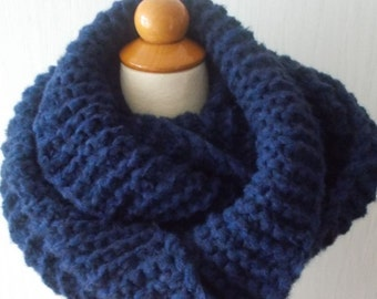 Chunky Cowl Shoulder Warmer Hand knitted  in Navy Dark Blue  for Men Women Soft Extra Warm