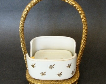 Lefton Ashtray With Matching Gold Stand
