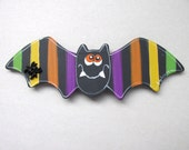 Whimsical Halloween Bat Magnets with Stripes on Wings, Orange Eyed, Black Spider Button, Halloween Magnet, Teacher Gift, Hand Painted