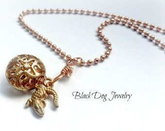 Copper Filagree Dome Necklace with Handmade Metal Clay Alligator Charm on Copper Ball Chain