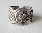 RESERVED Silver Cigar Band Ring, Wide Band Ring, Flower Jewelry, Flower Embossed Ring, Adjustable Size
