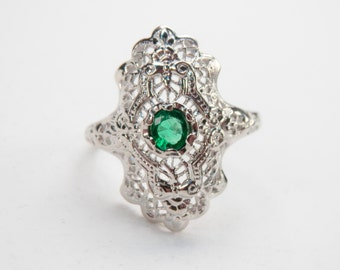 White Gold Art Deco Emerald Ring 14K White Gold May Birthstone Size 5.5 Ring 1920s Art Deco
