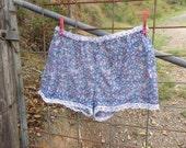 tiny floral + vintage lace shorts, sweet voile pants, s / m  +