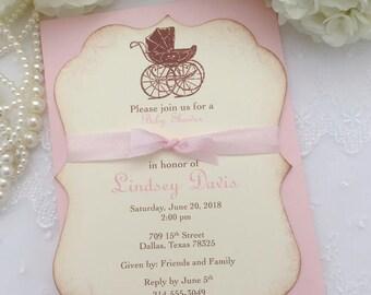 Baby Girl Invitations Carriage Pram Invitations Pink Ribbon Printed Set of 10