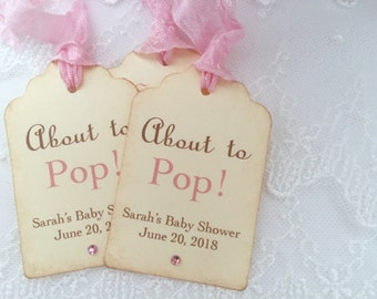 About to Pop Tags Girl Popcorn Favor Tags Baby Shower Set of 10