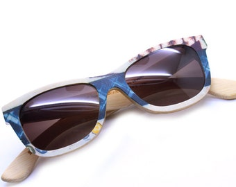 Takemoto The Word's Fist Color Bamboo  Handmade  Sunglasses Glasses With Wood Box Mjx1055