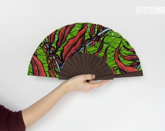 Wooden hand held fan with case - Vegetal print modern ethnic accessory - Mojisola by Olele - hand fan eventail abanico faecher