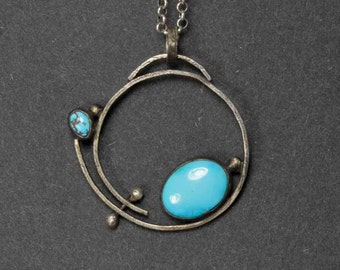 Turquoise Necklace,  Organic Silver, Statement Necklace, Sterling Silver Pendant, Metalsmith Jewelry, OOAK