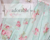 Aqua Floral Baby Gown with FREE MONOGRAMMING. Layette Gown. Coming Home Outfit. Baby Shower Gift for Newborn Baby Girl