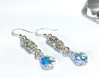 Crystal Clear AB Sterling Silver Beaded Byzantine Drop Earrings