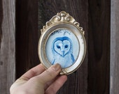 Watercolor Barn Owl Art and Gold Frame - Valentines Love One of a Kind