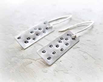 Polka Dot Earrings, Stamped Earrings, Sterling Dangles, Modern Earrings, Hammered Earrings, Dotted Earrings, Metalwork Jewelry