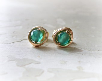 Faceted Green Studs, Aventurine Gold Posts, Tiny Green Earrings, Gemstone Studs,Faceted Post Earrings,Gold Stud Earrings,Green Post Earrings