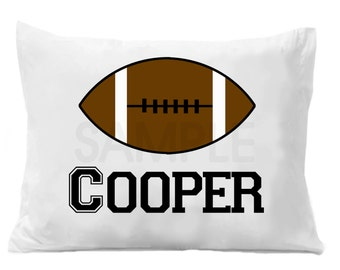 Football Pillow Case , Boys Sports Bedding , Personalized Football , Sports Pillowcase , Football