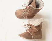 Hipster Boots Baby Girl Boots Soft Sole Boots Toddler Girl Boots Brown Boots Baby Wool Boots Lace Up Boots Cream Wool Boots- Payden